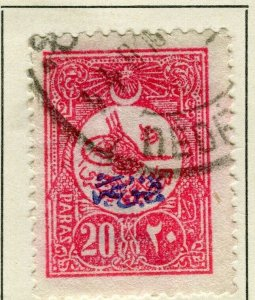 TURKEY; 1908 early Printed Matter Optd. issue fine used 20pa. value