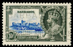 BARBADOS SG242, Silver Jubilee 1½d ultramarine & grey, FINE USED,.