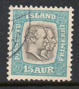 Iceland  Sc  O35 1907 15 aur 2 Kings Official stamp used