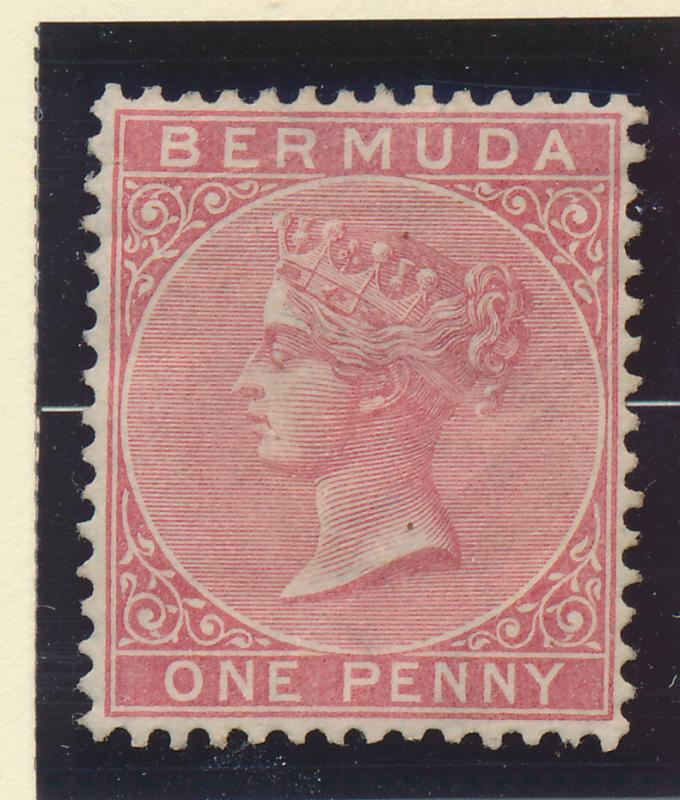 Bermuda Stamp Scott #1, Mint/Unused No Gum, Hinge Remnant, Creasing