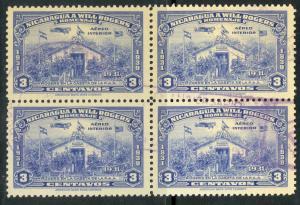 NICARAGUA 1939 3c WILL ROGERS Airmail BLOCK OF 4 Sc C238 VFU
