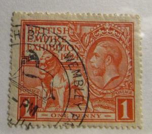GREAT BRITAIN Scott #185 Θ used British Empire Expo. fine + 102 card