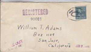 1943, Detroit, MI to San Jose,CA, 21c Prexie Solo, See Remark (30081)