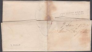 GB SCOTLAND 1837 folded entire to Stranraer - scarce GLENLUCE namestamp....54041