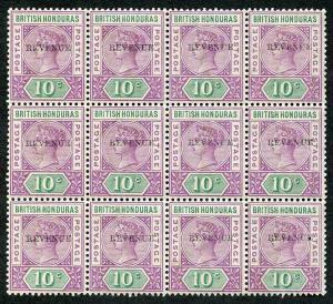 British Honduras SG67c QV 10c opt REVENUE (11 mm) MINT BLOCK of 12 (9 x U/M)
