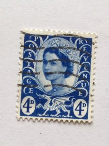 """Wales & Monmouthshire – 1966–Single """"Royal"""" Stamp–SC# 2–Used"""