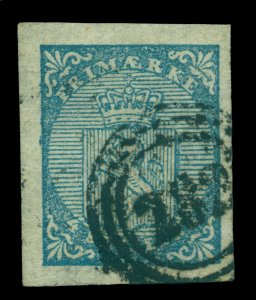NORWAY  1855  Lion  4s blue  Scott # 1 used VF-XF with 282  SON cancel