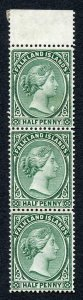 Falkland Is SG15 1/2d Blue-green Mint (no gum) STRIP (surface rub at top) cat 84