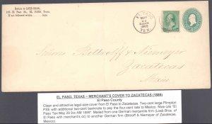 El Paso County El Paso to Mexico ( Postal History ), 1889