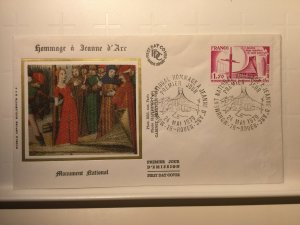 France Colorano silk FDC, 24 mai 1979, Monument Hommage à Jeanne d'arc