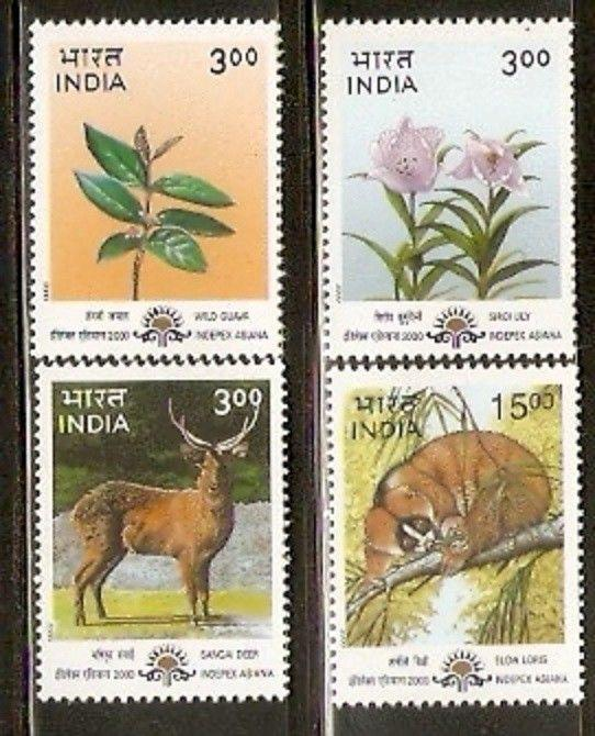 India 2000 Fauna & Flora Sc 1811-14 Wild Animals Flower Plant Tree 4v MNH Set