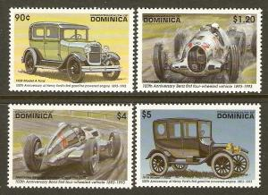 Dominica #1558-61 NH Ford & Mercedes Autos