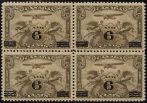 Canada USC #C3 Mint - 1932 Surcharged 6  Block of Four - VF-NH