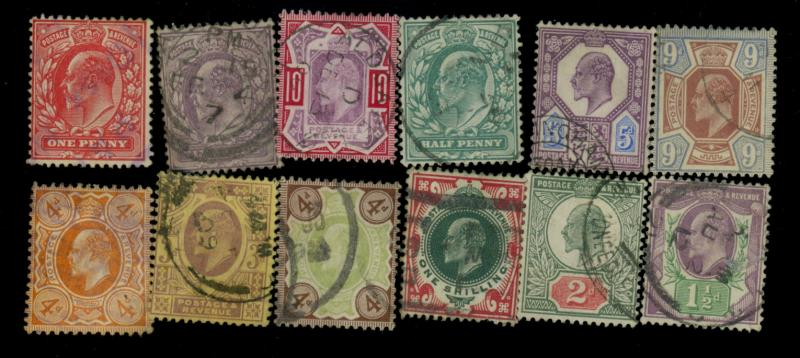 Great Britain #127-130 132-138 Used F-VF Cat#$327.85