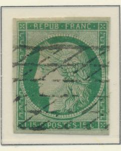 France Stamp Scott #2, Used, Thin - Free U.S. Shipping, Free Worldwide Shippi...