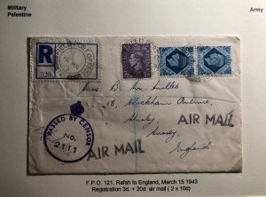 1943 Rafah Palestine British Field Post Airmail Censored Cover To England