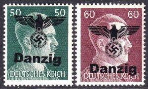 GERMANY 521-522 1944 DANZIG EAGLE OVERPRINT OG NH U/M F/VF TO VF BEAUTIFUL GUM