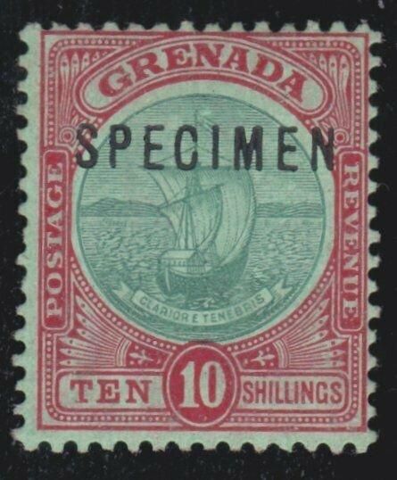 GRENADA 1908 10/- fine mint overprinted SPECIMEN...........................54794