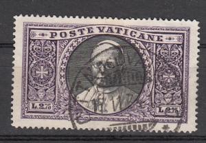 Vatican City SC# 31  1933 2.75 L Pope Pius XI used 2015 SCV $ 90.00