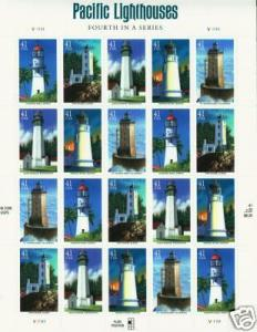 US Scott # 4146a 4146 - 4150 Pacific Lighthouses MNH