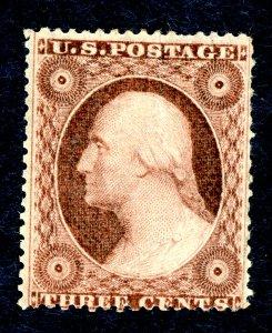 US #26 1857-61 3c Washington. Unused. OG H VF Small Tear.