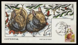 Collins Handpainted FDC North American Wildlife: Cottontail Rabbits (6/13/1987)