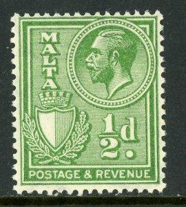 Malta 1930 KGV ½p Green Scott 168 Mint A137 ⭐⭐⭐