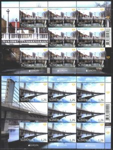 Slovenia. 2018. Small sheet 1304-5. Bridges, europe-sept. MNH.