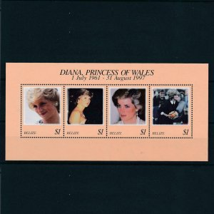 [106699] Belize 1998 Royalty Princess Diana Souvenir Sheet MNH