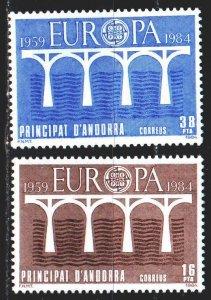 Andorra. 1984. 175-76. Bridge, europa-sept. MLH.