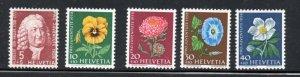 Switzerland Sc B277-81 1958 Pro Juventute Flowers stamp set mint NH