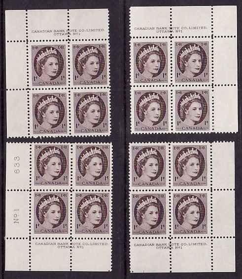Canada-Sc#337- id10972-unused NH four plate blocks#1- 1c QEII Wilding-1954-