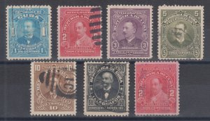 Cuba Hiscocks 98-103, 106 used. 1910-11 Telegraph Stamps, 7 different, sound