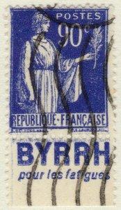 FRANCE - 1938 Pub BYRRH (pour les fatigues) sur Yv.368a 90c Paix t.I (A1)