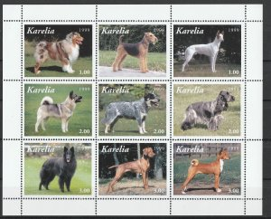 Karelia MNH S/S Pedigree Dogs 9 Stamps 1999