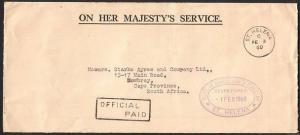 ST HELENA 1960 OHMS cover OFFICIAL PAID, Dept of Ag handstamp..............76352