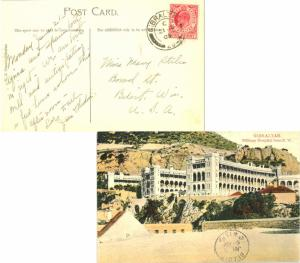 Gibraltar 1d KEVII 1909 Gibraltar, 25 PPC (Military Hospital from N.W.) to Be...
