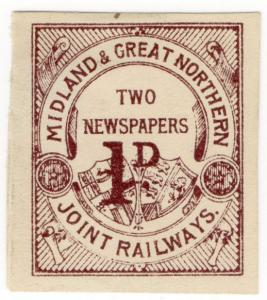 (I.B) Midland & Great Northern Joint Railway : Newspaper 1d (proof)