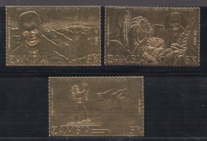 Zambia - (3) MNH / 5K / 22k GOLD    -    Lot 0921403