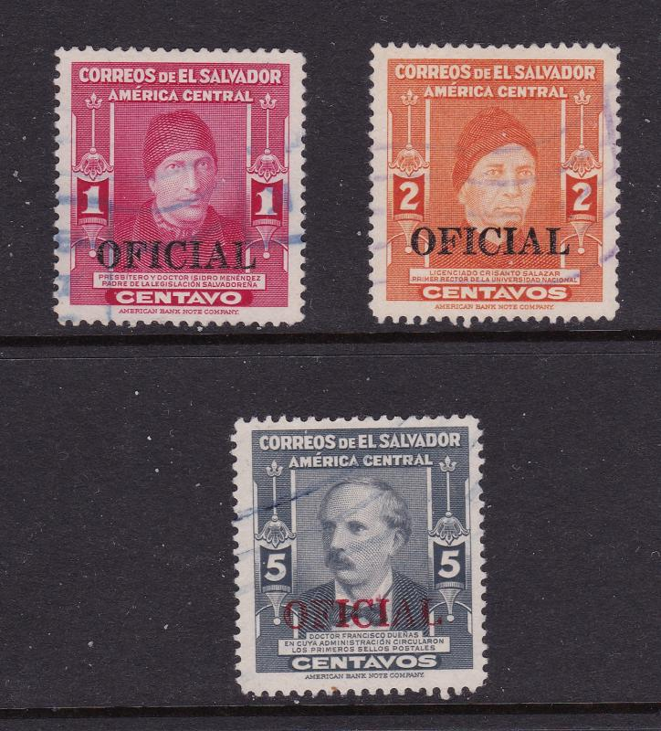 El Salvador the 1,2 & 5c used Officials from 1947