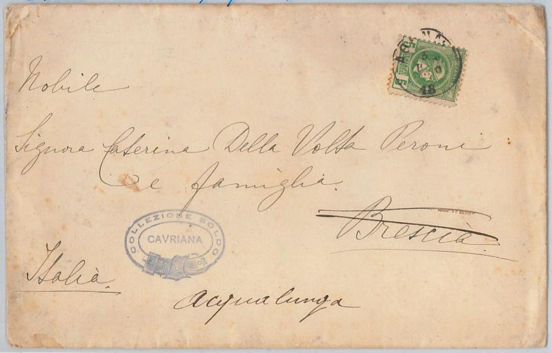 GREECE Ελλάδα - POSTAL HISTORY: 5 Lepta HERMES perforated on COVER to ITALY 1894
