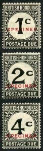 British Honduras SGD1s/3s Post Due set of 3 Opt SPECIMEN M/M