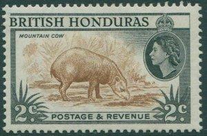 British Honduras 1953 SG180a 2c brown and black Mountain Cow MLH