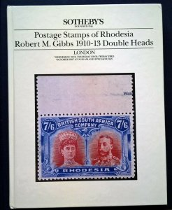 Auction Catalogue Rhodesia ROBERT GIBBS 1910-13 DOUBLE HEADS inc Prices Realised