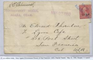 GUAM #2 ON COVER SOLDIER RATE MAY 22,1900 CV $200 BS8451 HS108G