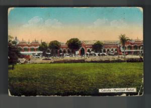 1919 Rangoon Burma Picture Postcard Cover to London England Calcutta Market