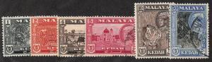 Malaya-Kedah - 1959-60 - SC 95-98,100,102 - Used/H - 95,100 H