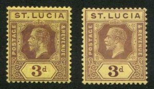 St Lucia SC# 68, 68a KGV 3d Die I & II MH SCV $31.40