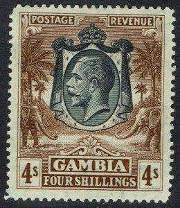 GAMBIA 1922 KGV ELEPHANTS 4/-