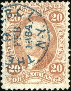 i821 U.S. Revenue Scott R41c 20c Foreign Exchange. Bold handstamp cancel SCV=$80